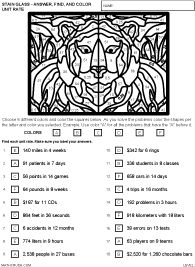 Preview of math art worksheet on Unit Rate - Level 2 | Ratio Rate ...