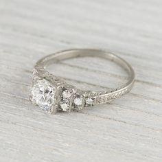 Image of .99 Carat Art Deco Vintage Engagement Ring