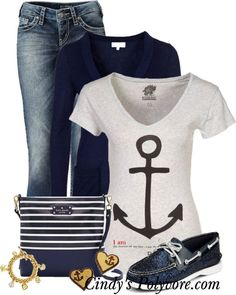 A fashion look from February 2013 featuring anchor print shirt, long length cardigan and stitch's jeans. Browse and shop related looks. Nautical Outfits, Nautical Fashion, Look Fashion, Teen Fashion, Womens Fashion, Curvy Fashion, Fall Fashion, Fashion Tips, Fashion Trends