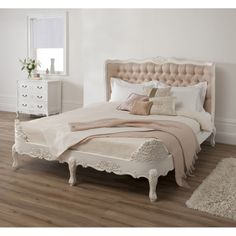 Frilly bed... Antique French Upholstered White King Bed With Smooth Cream Tufted Headboard