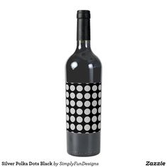 Silver Polka Dots Black Wine Label