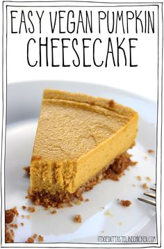Easy Vegan Pumpkin Cheesecake Make In A Blender, Bake And Let Cool Overnight For An Easy Make-Ahead Dessert. The Creamy Bliss Of A Cheesecake, With Autumn Pumpkin Flavors, Not Too Sweet, Just Perfectly Mouth Pleasi Healthy Vegan Dessert, Vegan Dessert Recipes, Vegan Treats, Vegan Thanksgiving Desserts, Cake Recipes, Cooking Recipes, Vegan Food, Dairy Free Thanksgiving Recipes, Thanksgiving Cakes