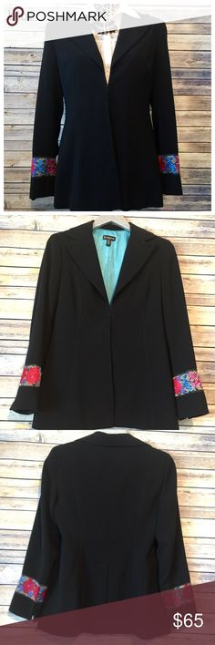 "Exquisite bebe Blazer, Size 10 This gorgeous long black blazer by bebe has the most amazing detailed sleeves with bright, intricate floral embroidery. 🌺 Jacket features full length sleeves (approx 23""), soft silky lining, a 9"" back slit to allow freedom of movement,  and has lightly padded shoulders. One eye hook provides closure at the front. Blazer was worn for a job interview and then has been sitting unloved since. Pristine condition. Please feel free to ask questions or bundle for the…"