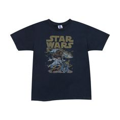 Navy Star Wars t-shirt by Junk Food ($30) ❤ liked on Polyvore featuring tops, t-shirts, shirts, blue t shirt, navy top, navy blue shirt, navy blue tops and navy blue t shirt