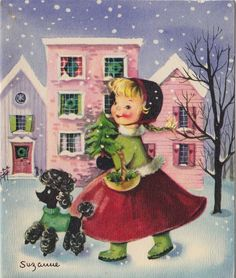 Vintage Greeting Card Christmas Girl Black Poodle Dog Artist Signed Suzanne v527