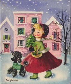 Vintage Greeting Card Christmas Girl Black Poodle Dog Artist Signed Suzanne v527