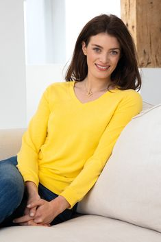 Supersoft V Neck in Sunshine Yellow Autumn Clothes, Fleece Fabric, V Neck, Pullover, Sweaters, Sunshine, Color, Tops, Yellow