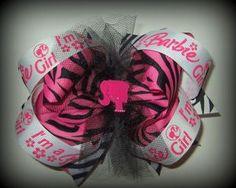 Girls Huge Zebra Barbie Inspired Ott Stack Boutique Hair Bow Christmas Gift | eBay