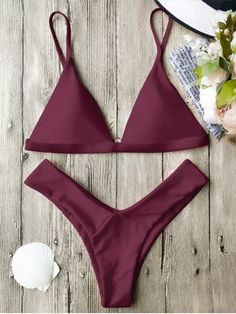 006f16a425 Soft Pad Spaghetti Straps Thong Bikini Set - BURGUNDY S In a solid hue,this