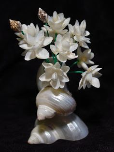 The Flowers and vase made from Shells
