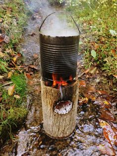 One Log Rocket Stove In Water