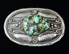 0d22b54c8 Item #868X- Xlg Vintage Men's Navajo Turquoise Nugget Silver Floral  Decorated Belt Buckle