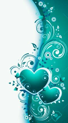 Teal blue hearts painting idea with swirls.
