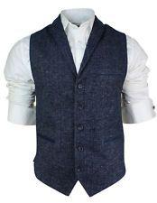 Mens Vintage Tweed Waistcoat Herringbone Navy Blue Slim Fit Suede Trim