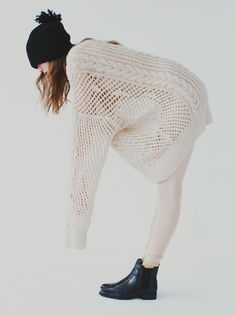 Ryan Roche Oversize Cashmere Cable knit Sweater