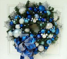 Blue Snowflake Christmas Wreath ~