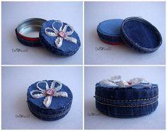 decoriciclo: scatolina di metallo rivestita di jeans
