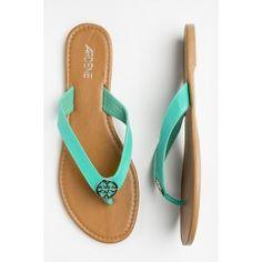 0eea4e793b5efd Shoes - Footwear for Women. Turquoise leather flip flops ...