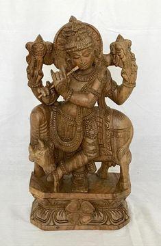 Hare Krishna Table dappoint Ronde en Bois de No/ël Turquoise 36 x 36 x 15 Cm