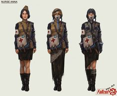 """I continue the series of fanarts for the Fallout world. I want to take a look at how this world could be """"on the other side."""" Utopia, futurism and post-apocalypse are not in the United States, but in the totalitarian USSR. Fallout Art, Fallout New Vegas, Female Character Design, Character Art, Character Inspiration, Apocalypse Art, Apocalypse Fashion, Alternate History, Sci Fi Characters"""