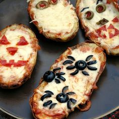 Halloween Baked Potato Skin Pizzas Recipe Main Dishes with russet potatoes, cooking spray, sea salt, pasta sauce, mozzarella cheese, pepperoni, pizza toppings, mushrooms