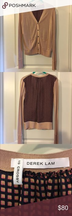 10 Crosby Derek Lamb Silk Cardigan This cardigan is new without tags! It comes from a shed-free, smoke-free home and has never been worn. The color is a deep blush and the back of the cardigan is a somewhat sheer (but not transparent) silk. 10 Crosby Derek Lam Sweaters Cardigans