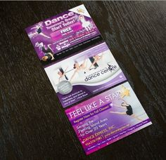 "67% of our successful dance studio campaigns use pink and/or purple as the dominent color on their postcards! The three pictured above are just a few examples of this color scheme. Can you guess the second most dominant color featured? And if you want to see examples of dance postcards that are currently working for dance academies go to postcardmania.com and search for ""dance postcards."""
