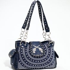 Designer INspired Western Fashion Handbag w/ Rhinestones & Six-Shooters - Blue   $51.99 + free shipping  wantedwardrobe.com  #western #handbags #fashion