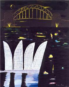Night bridge and Opera House by Ken Done, acrylic on canvas, 150 x Australian Painting, Australian Artists, National Art School, Kendo, City Art, Vintage Travel Posters, Magazine Art, Limited Edition Prints, Online Art