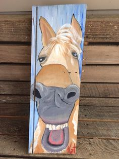 Horse laughing on wood on Etsy, $75.00
