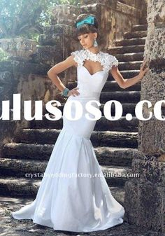Short sleeve lace custom-made chapel train bridal wedding dress CWFaw2581