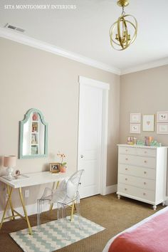 turquoise, white and pink girl's room. Sita Montgomery Interiors