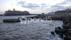 4k Funchal harbor with cruise ships and moles or bulwark - Stock Footage | by Beckhusen