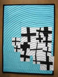 "moderndayquilts:    Holy super coolness, batman!    ""Untitled 2011"" Quilt by Carol, an original design featured on her Flickr stream. She also has a blog."