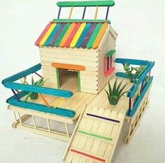 Ideas for doll house ideas diy popsicle sticks Craft Stick Projects, Diy Popsicle Stick Crafts, Popsicle Stick Houses, Popsicle Crafts, Diy Projects, Craft Ideas, Popsicle House, Wood Crafts, Fun Crafts