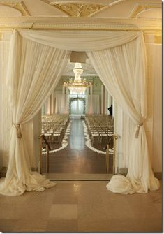 Backup location for ceremony indoors? Frame the entrance to your wedding ceremony or party with yards of beautifully draped fabric Wedding Events, Wedding Ceremony, Our Wedding, Dream Wedding, Wedding Church, Wedding Draping, Trendy Wedding, Indoor Ceremony, Church Ceremony