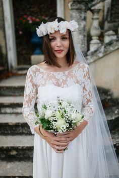 Notre ravissante mariée Capucine, en robe entièrement sur-mesure #elisehameau #elisehameaubrides #realbrides #weddingdress #handmade #madeinparis