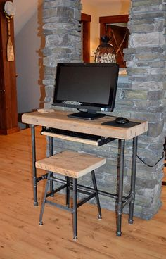 Small Urban Wood Laptop / Computer Desk Reclaimed Wood w/ Industrial Pipe Legs