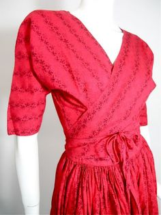vintage Red and Black Wrap Top and Skirt 2 Pc Dress 1950s by DorotheasCloset