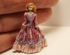 """1 48 Quarter Scale Cloth and Wood Lady Doll Silk Gown Handmade OOAK 1 4"""" Scale 