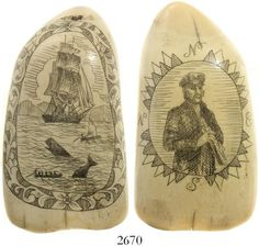 Ivory whale tooth with mid-1900s scrimshaw depicting a whaling scene