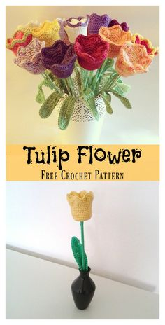 Tulip Flower Free Crochet Pattern #freecrochetpattern #crochetflowers