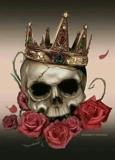 Skull with roses and crown tattoo art idea Tattoo Drawings, Body Art Tattoos, Tatoos, Tattoo Modern, Coroa Tattoo, Tattoo Crane, Totenkopf Tattoos, Paar Tattoos, Geniale Tattoos
