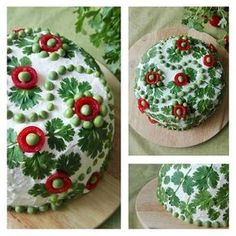 Senni - My first sandwich cake decoration ever. This salmon filled cake is decorated with coriander leaves, tomatoes and peas. Food Design, Sandwich Torte, Sandwich Ideas, Appetizer Recipes, Appetizers, Food Garnishes, Yummy Food, Tasty, Food Decoration