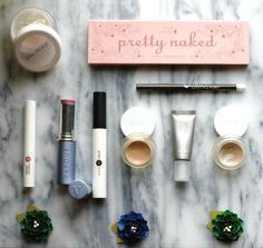 Natural makeup starter kit for transitioning to green beauty. Featuring 100% Pure; Alima Pure; Lily Lolo; RMS Beauty; Vapour Organic Beauty; and W3ll People.