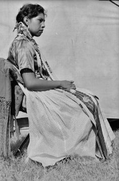 LaCreda Weller (later aka LaCreda Weller-Daugomah), the daughter of Henry Weller & Alice Murrow-Weller, at the American Indian Exposition in Anadarko, Oklahoma - Caddo - 1951