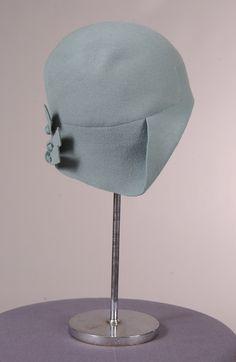 Green wool cloche hat, [1920's?].