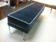 Custom Made Hollywood Regency upholstered bench with Lucite legs with semi attached cushion CO Bench Stool, Bench Cushions, Upholstered Bench, Ottoman Bench, Hallway Bench, Hollywood Regency, Sofa Chair, Home And Living, Family Room