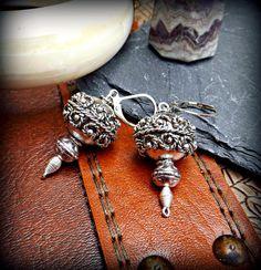 Gebetsmühle Ohrringe Silber ethnischen Ohrringe von Ohmdevine