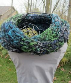 Finger knit wool and acrylic warm winter scarf in shades of blue green and gray, warm neck wrap